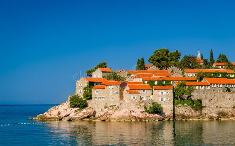 Het eiland van Stefan van Sveti stock fotografie