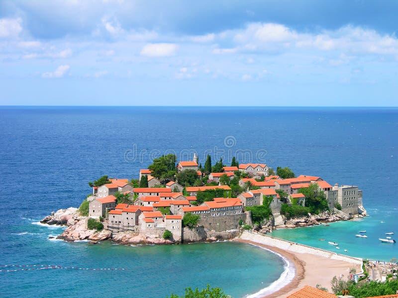 Het eiland van Stefan van Sveti, Montenegro stock afbeelding