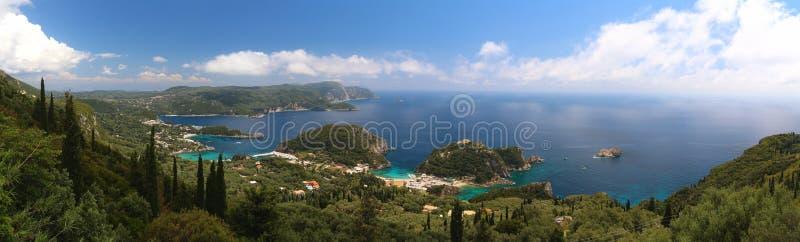Het eilandpanorama van Korfu stock afbeeldingen