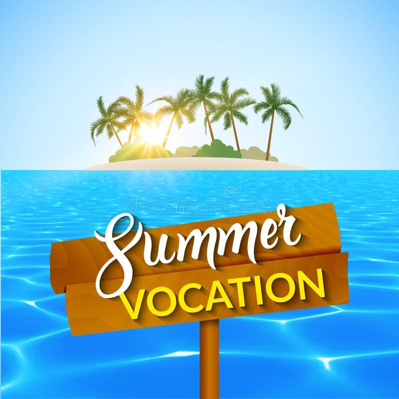 Het eilandroeping van de reiszomer Eilandstrand met palmen, blauwe water en hemel De vectorillustratie van de de zomerroeping stock illustratie