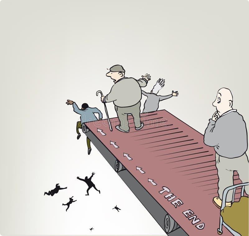Het eind? dat op een oude schrijfmachine en een oud document wordt geschreven vector illustratie