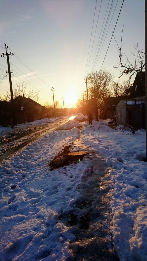 Het eind van een mooie warme de winterdag stock afbeelding