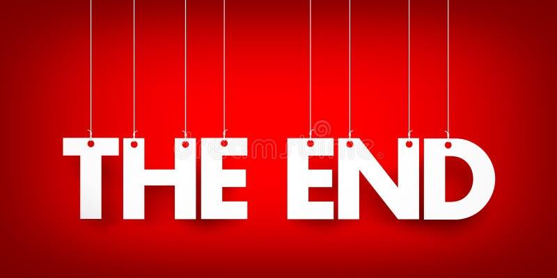 Het eind - woord het hangen op kabel royalty-vrije illustratie