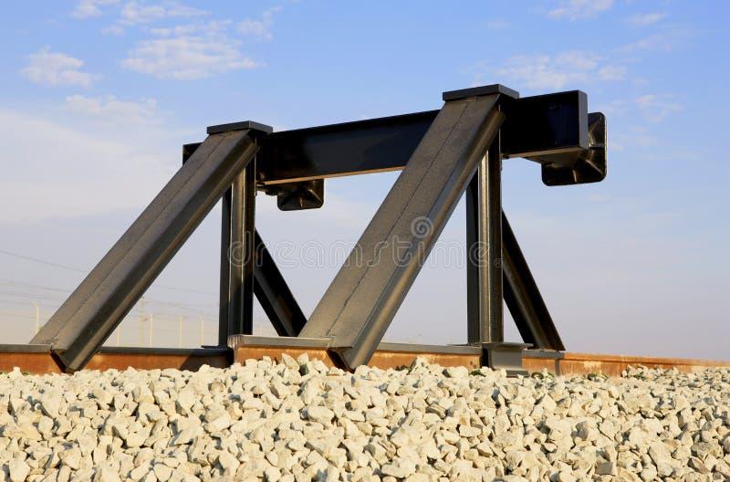 Het eindlijn van de spoorweg stock afbeelding