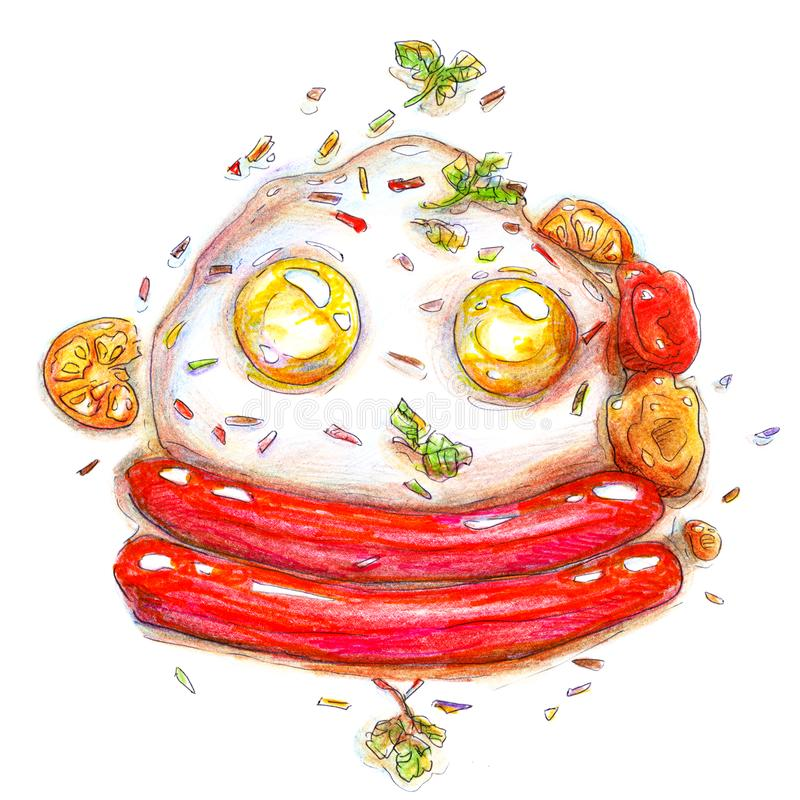 Het eipriobyva van de ontbijtochtend bazelik met sausen en van tomatenkleurpotloden heldere tekening schetst met de hand op witte stock illustratie