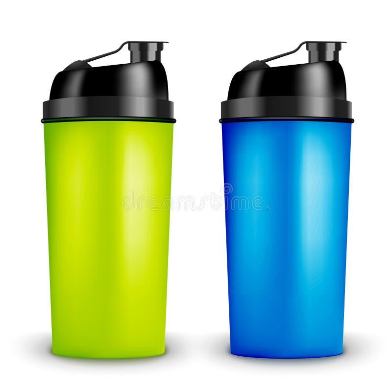 Het eiwitmalplaatje van het schudbekerontwerp Twee flessen van de kleurensport Schudbekerfles voor gymnastiek het bodybuilding vector illustratie