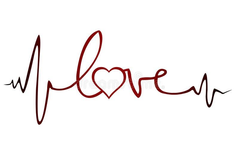 Het electrocardiogram van de liefde stock illustratie