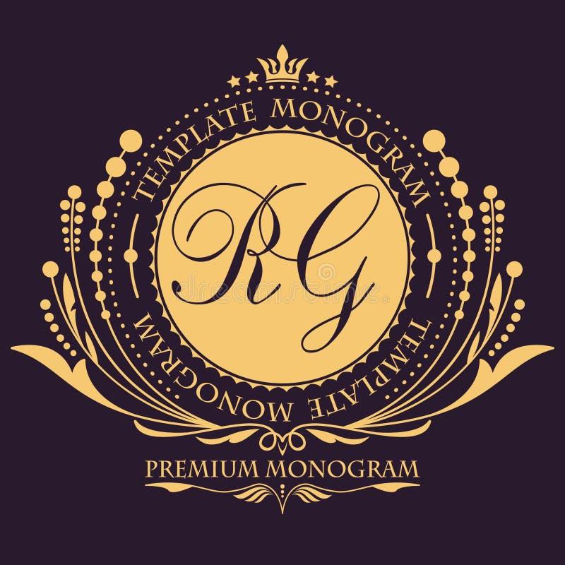 Het elegante bloemen uitstekende malplaatje van het monogramontwerp voor één of twee brieven Kalligrafisch elegant ornament Bedri stock illustratie