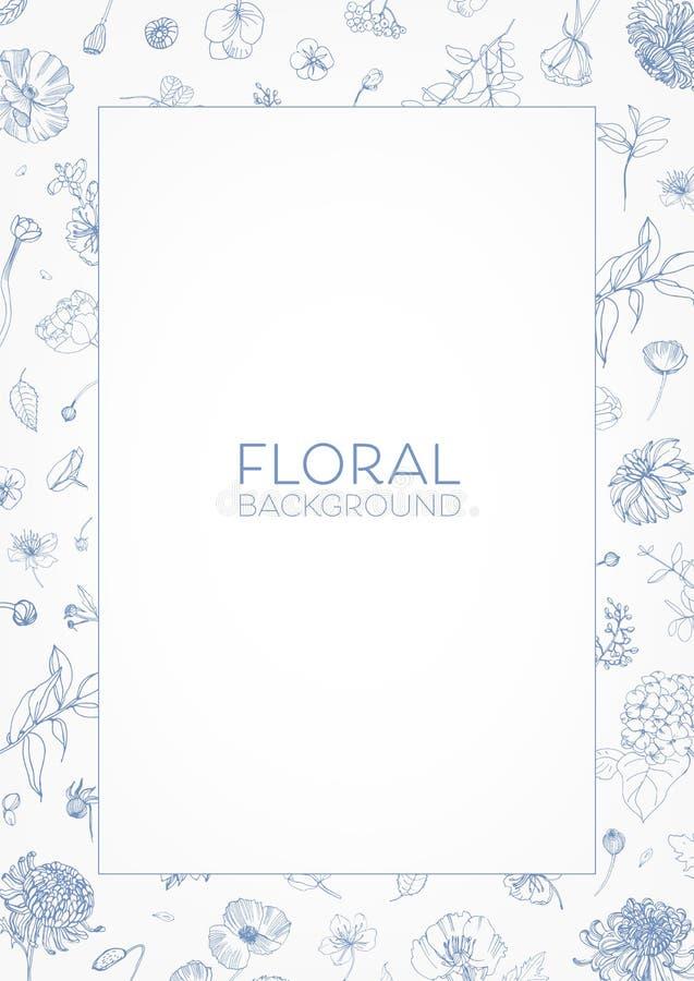 Het elegante decoratieve bloemenkader of de grens met bloeiende tuinbloemen overhandigt getrokken met blauwe contourlijnen en pla vector illustratie