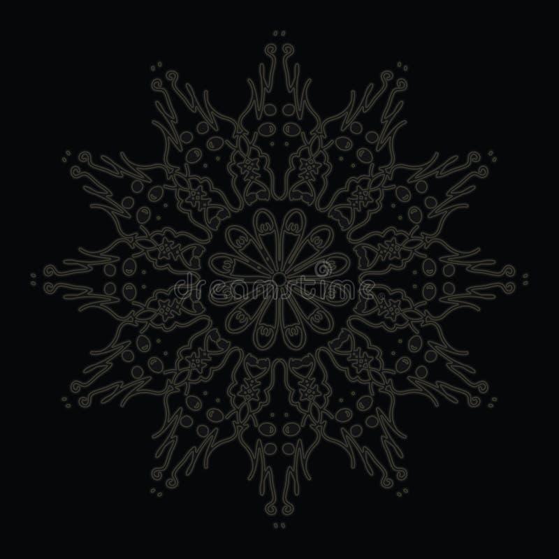 Het elegante en tedere patroon van de kantcirkel op zwarte royalty-vrije illustratie