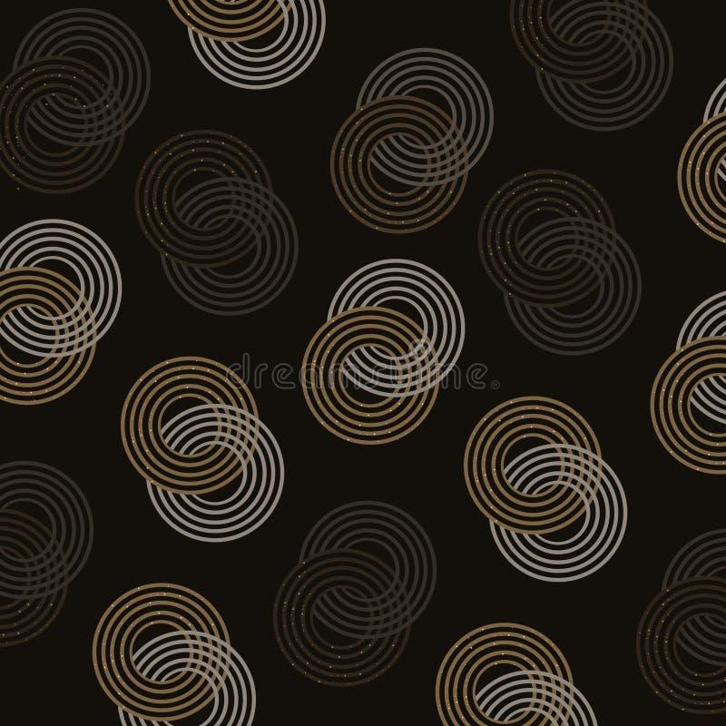 Het elegante goud schittert achtergrond van het cirkel de naadloze patroon stock illustratie
