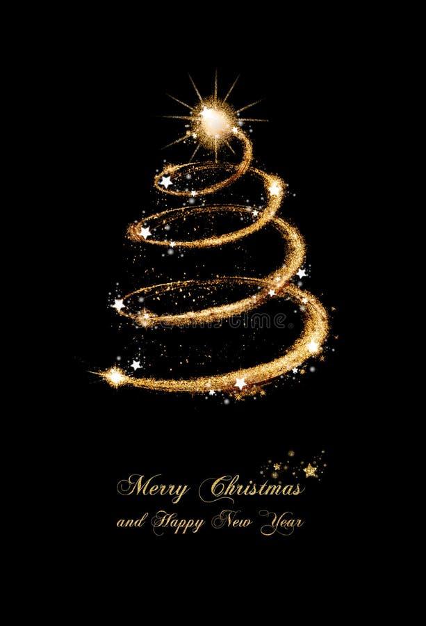 Het elegante Goud schittert de Kaart van de Kerstboomgroet royalty-vrije illustratie