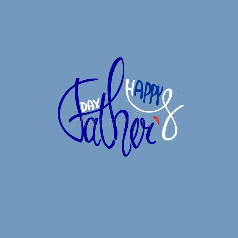 Het elegante hand van letters voorzien voor Vadersdag, die op blauwe achtergrond wordt geïsoleerd royalty-vrije illustratie