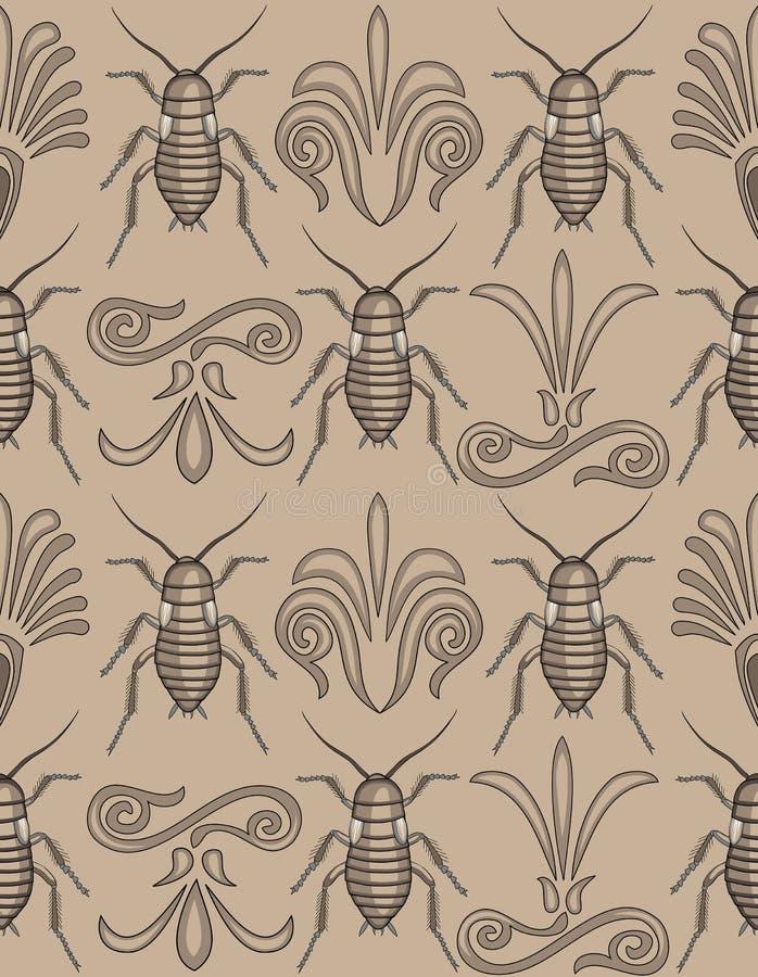 Het elegante kakkerlakkenbehang naadloos herhalen stock illustratie