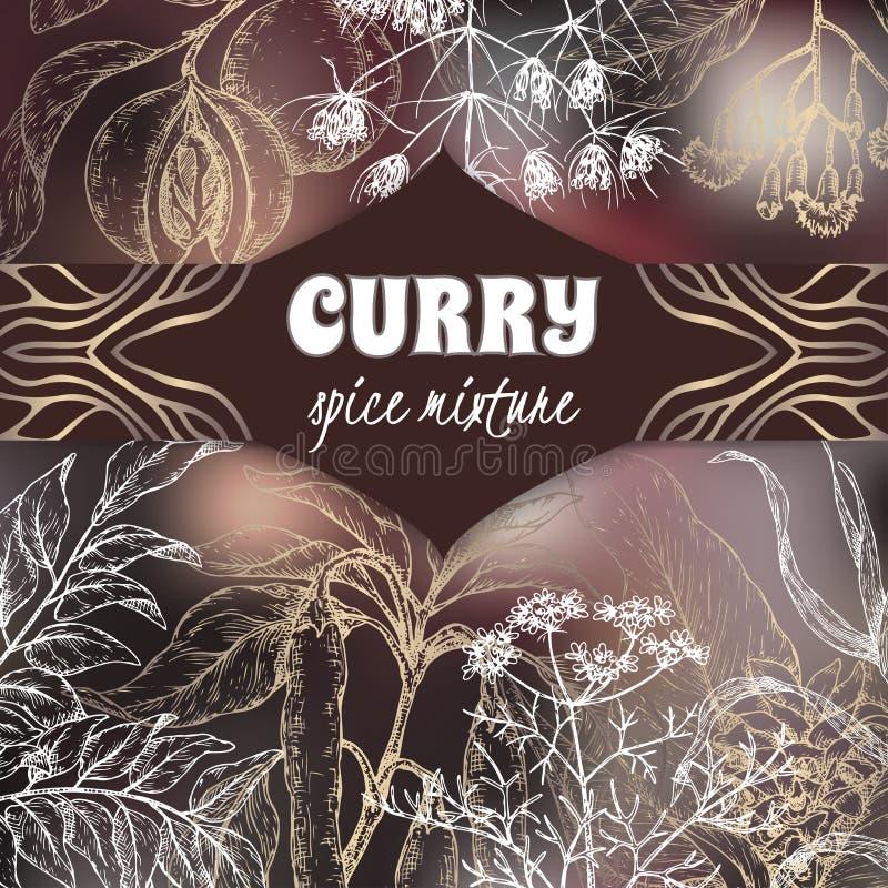 Het elegante malplaatje van het kerriemengsel met kerrieboom, kurkuma, koriander, Spaanse peperpeper, knoflook, kruidnagel, notem vector illustratie