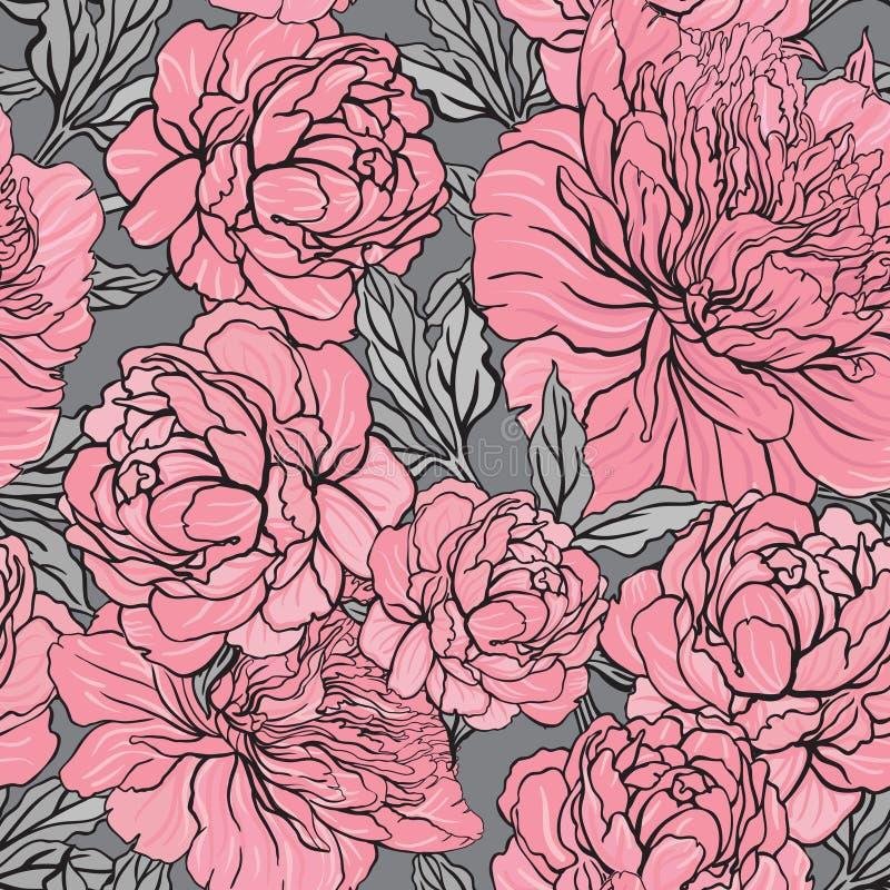 Het elegante Naadloze patroon van de kleurenpioen op grijze achtergrond stock illustratie