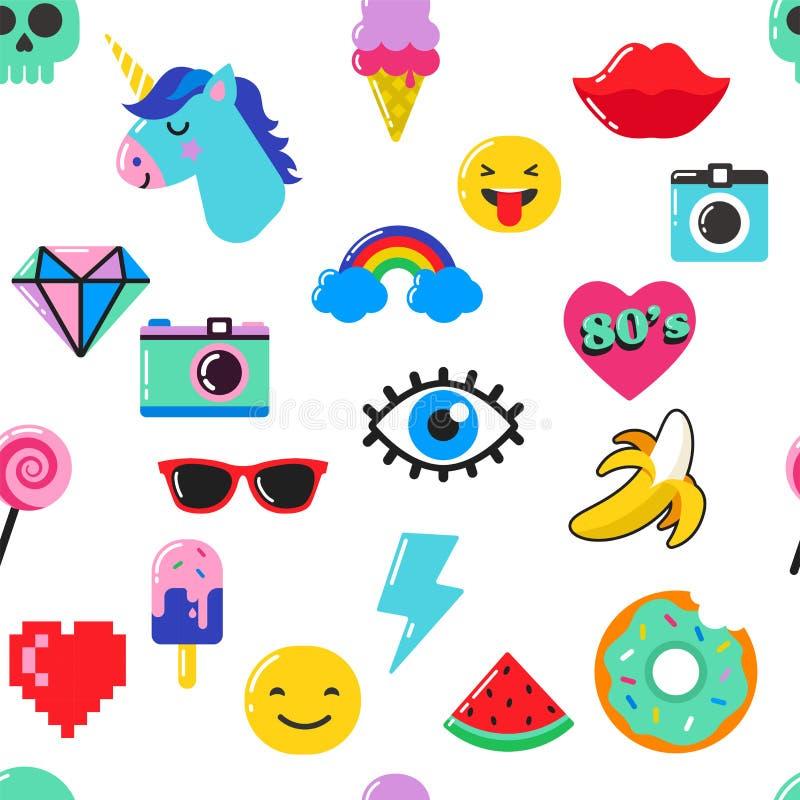 Het elegante naadloze patroon van de pop-artmanier met flarden, spelden, kentekens en stickers stock illustratie
