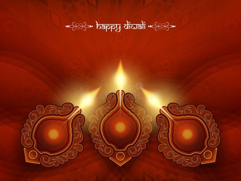 Het elegante ontwerp van de rode kleurenkaart voor diwalifestival vector illustratie