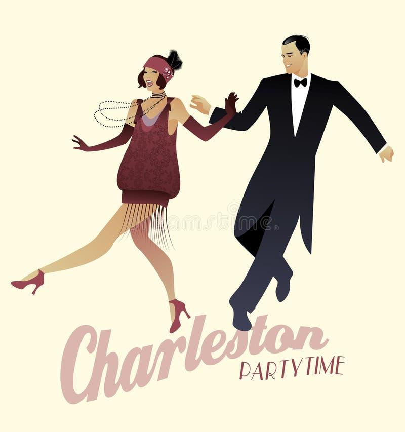 Het elegante paar die 20 ` s stijl dragen kleedt dansend Charleston royalty-vrije illustratie