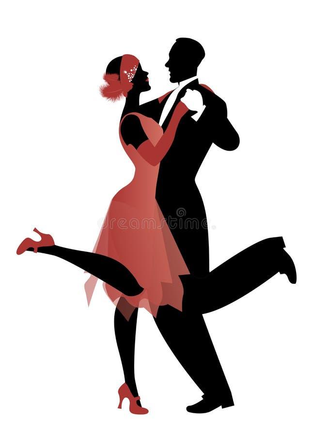 Het elegante paar die 20 ` s stijl dragen kleedt dansend Charleston vector illustratie