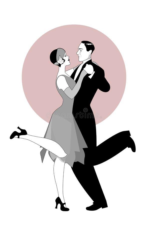 Het elegante paar die 20 ` s stijl dragen kleedt dansend Charleston Ve vector illustratie
