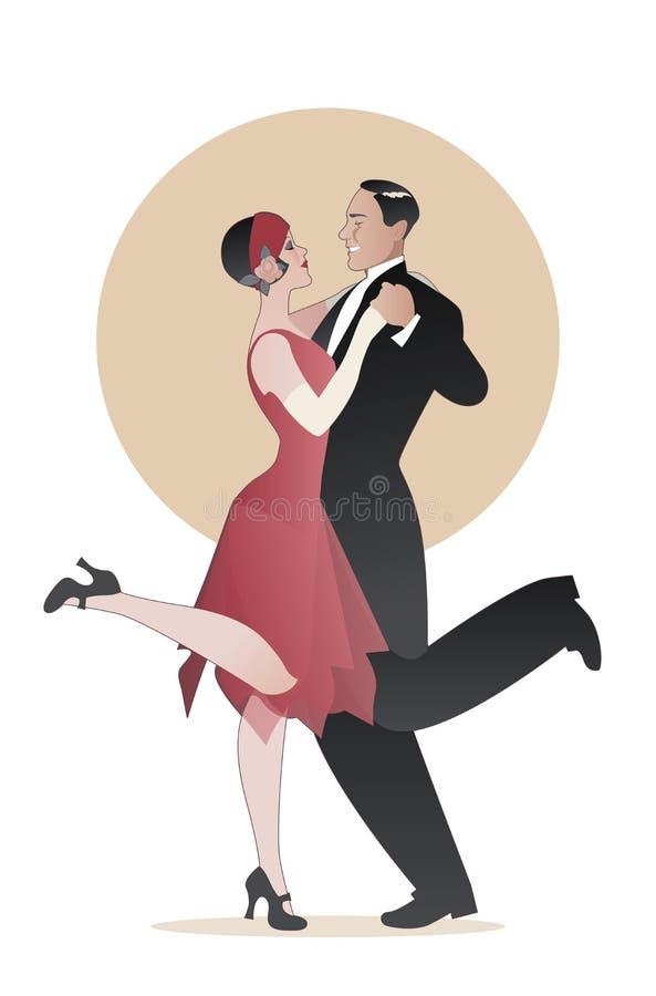 Het elegante paar die 20 ` s stijl dragen kleedt dansend Charleston Ve stock illustratie
