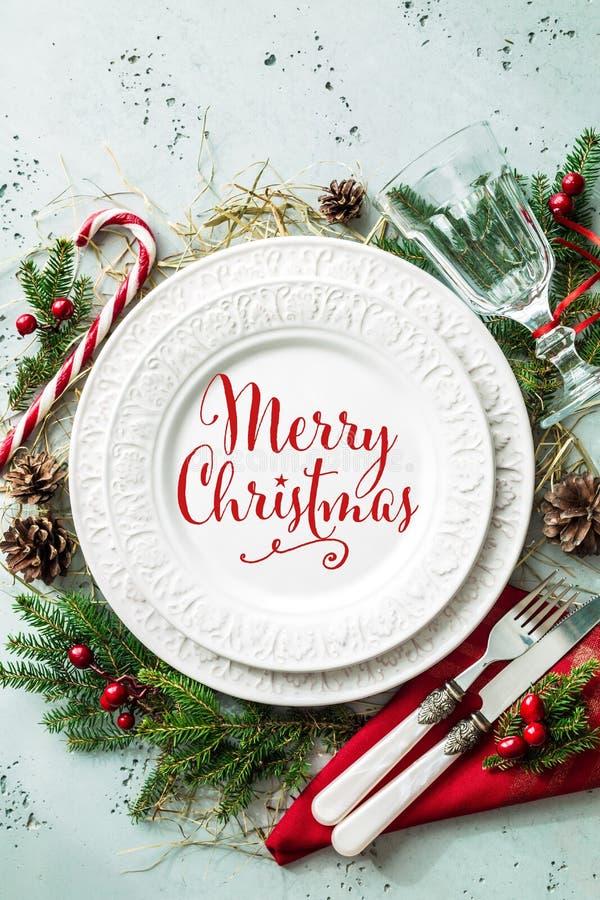 Het elegante plaatsende ontwerp van de Kerstmislijst hoogste vlakke mening, legt stock fotografie