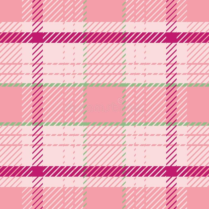 Het elegante trillende patroon van de geruit Schots wollen stofplaid in zomerse roze en groene tonen Naadloos verfijnd vectorontw royalty-vrije illustratie