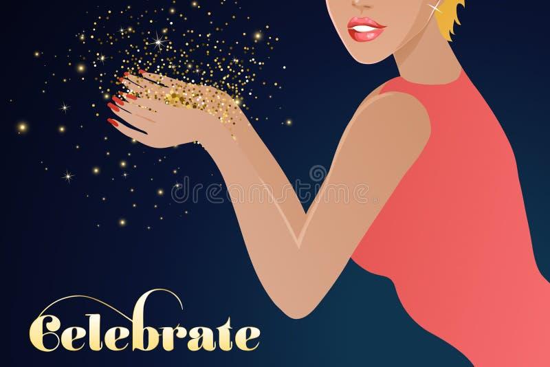 Het elegante vrouw blazen schittert, vieringsachtergrond stock illustratie