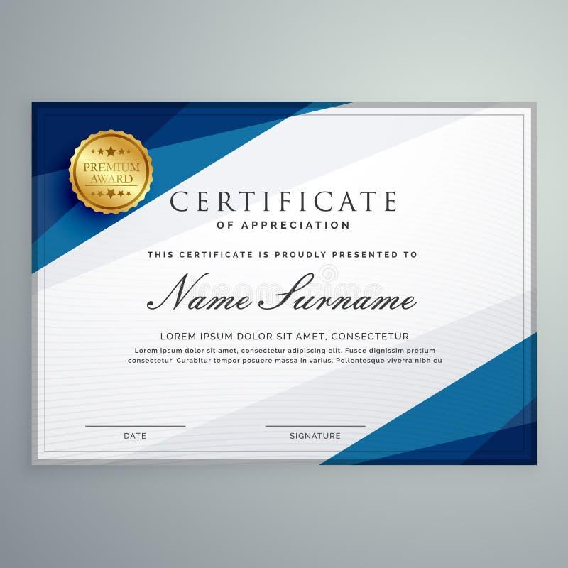 Het elegante witte en blauwe malplaatje van het certificaatdiploma stock illustratie