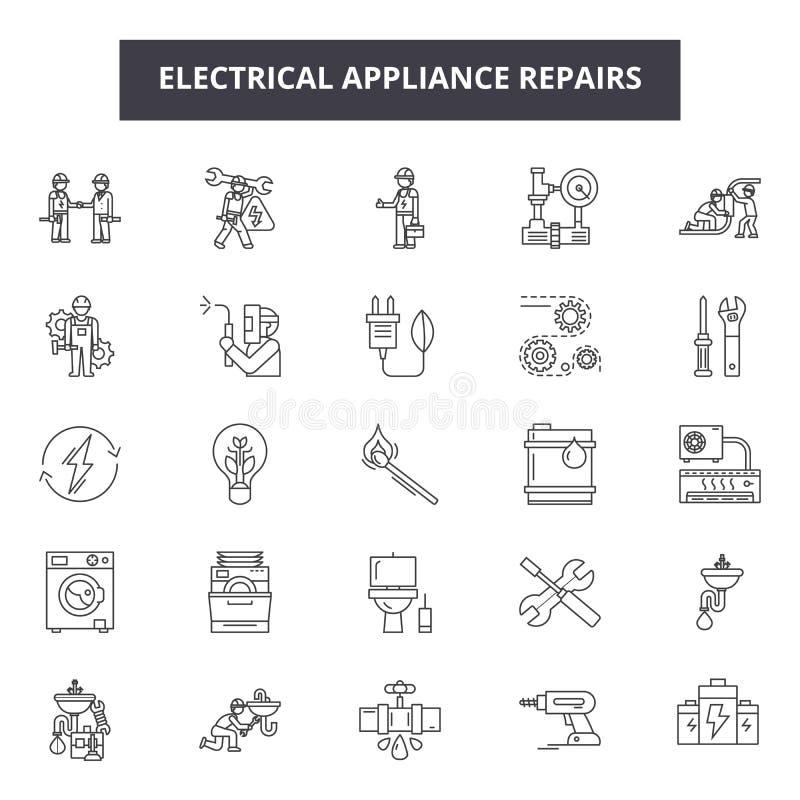 Het elektrische apparaat herstelt lijnpictogrammen, tekens, vectorreeks, het concept van de overzichtsillustratie stock illustratie