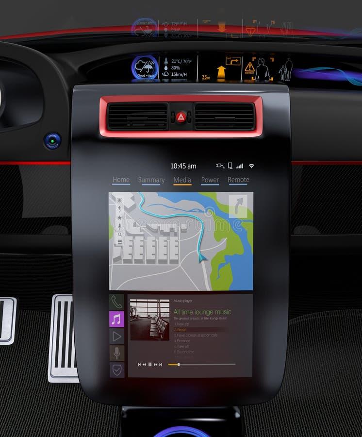 Het elektrische autoconcept van het interfaceontwerp van verschillende media royalty-vrije illustratie