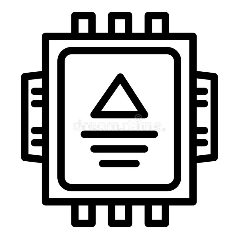 Het elektrische pictogram van de brekerdoos, overzichtsstijl stock illustratie
