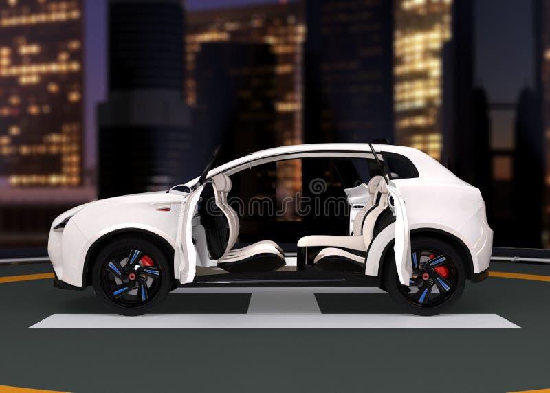 Het elektrische SUV-parkeren op de helihaven vector illustratie