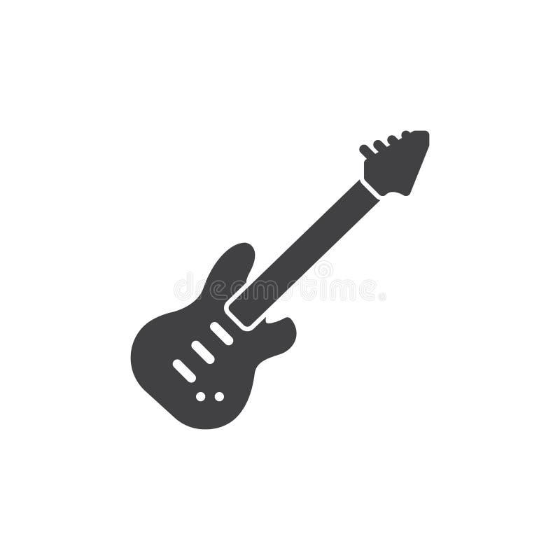 Het elektrische vector, gevulde vlakke teken van het gitaarpictogram, stevig die pictogram op wit wordt geïsoleerd vector illustratie