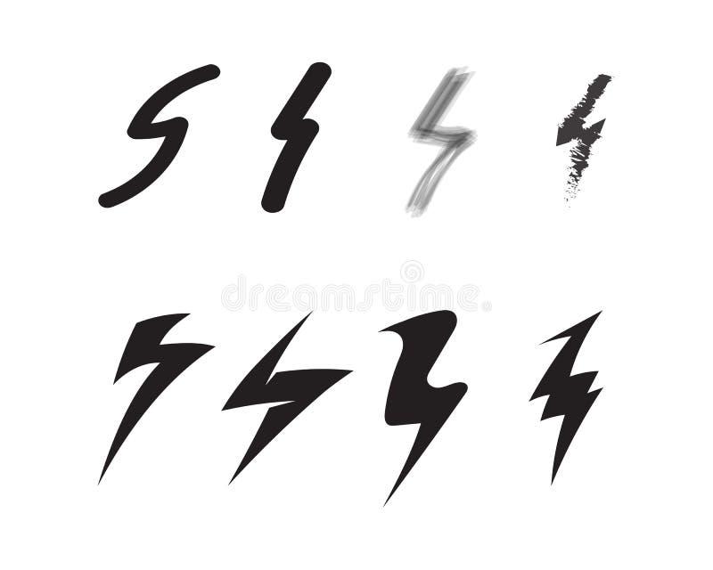 het elektrische Vectorembleem en de symbolen van het bliksempictogram stock illustratie