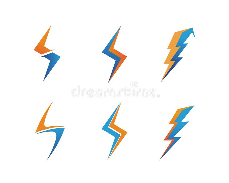 het elektrische Vectorembleem en de symbolen van het bliksempictogram royalty-vrije illustratie
