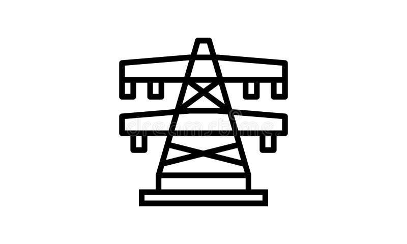 Het elektro, pictogram van de Energie, Transmissie, van de Transmissietoren Gewaagde en dunne zwarte lijn vector illustratie
