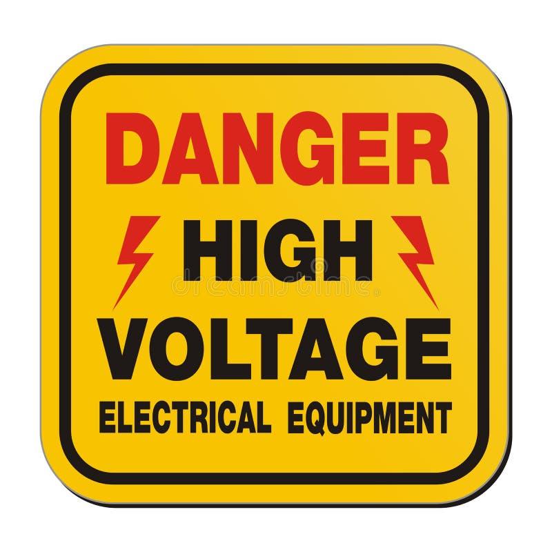 Het elektromateriaal van de gevaarshoogspanning - geel teken stock illustratie