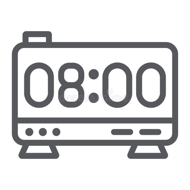 Het elektronische pictogram van de wekkerlijn, digitaal en uur, het teken van de klokvertoning, vectorafbeeldingen, een lineair p stock illustratie