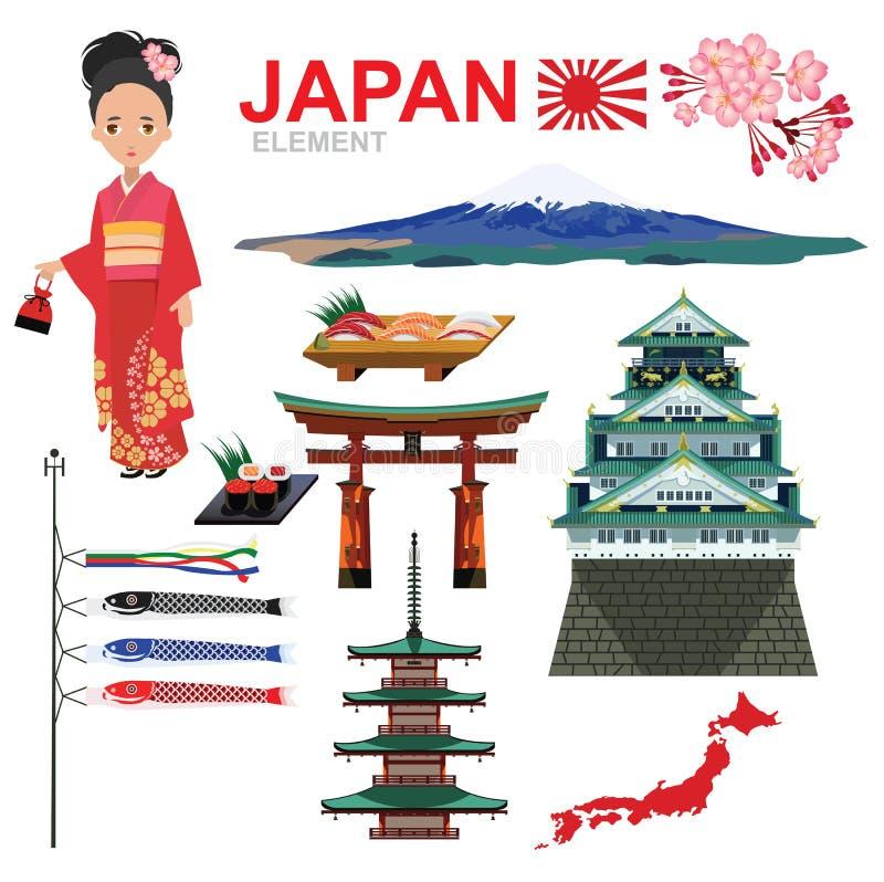 Het ELEMENT en de reis van JAPAN royalty-vrije illustratie