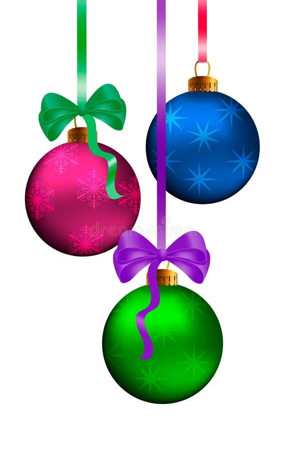 Het element van het de kaartontwerp van de Kerstmisgroet met realistische roze, groene en blauwe verfraaide glanzende bal, 3d snu royalty-vrije illustratie