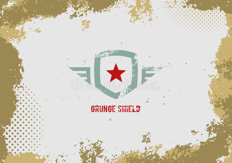 Het element van het het schildontwerp van Grunge op grungeachtergrond stock illustratie