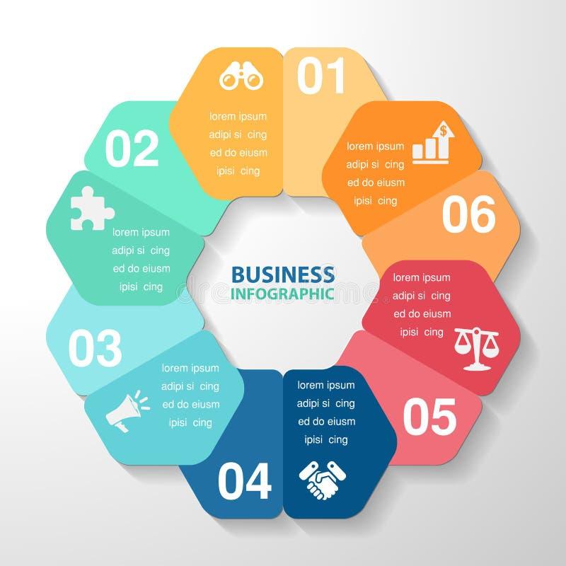 Het element van het Infographicmalplaatje, bedrijfsdelenstappen of processen, royalty-vrije illustratie