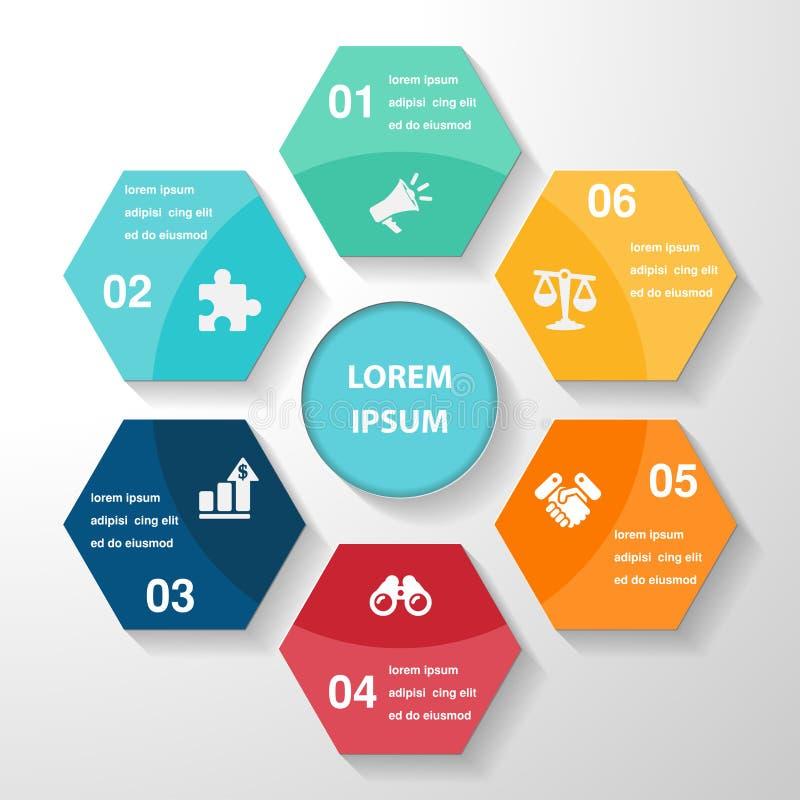 Het element van het Infographicmalplaatje, bedrijfsdelenstappen of processen, vector illustratie