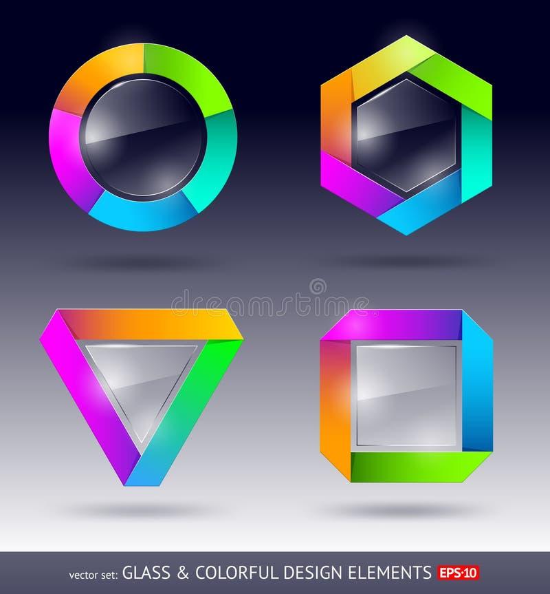 Het element van het kleurrijke en glasontwerp stock illustratie