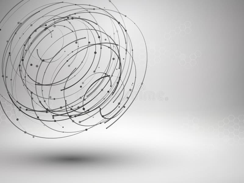 Het element van het Wireframenetwerk Abstracte wervelingsvorm met verbonden lijnen en punten stock illustratie