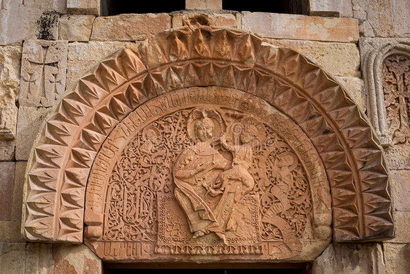 Het element van hogere tympanium van Noravank-Klooster, Vayots Dzor, Armenië stock fotografie
