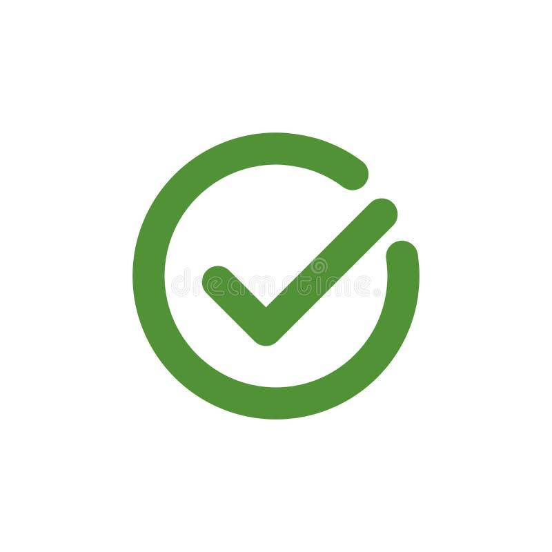 Het element van het tikteken Groen die controletekenpictogram op witte achtergrond wordt geïsoleerd Eenvoudig teken grafisch ontw stock illustratie