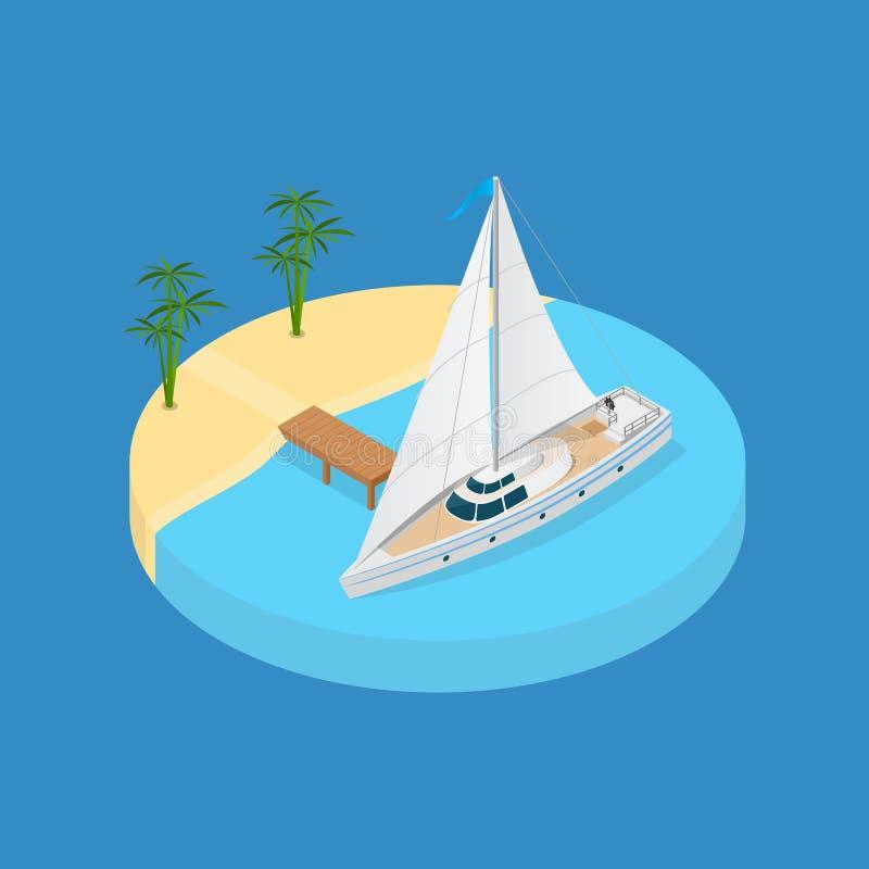 Het Elementen 3d Isometrische Mening van de strandvakantie Vector royalty-vrije illustratie